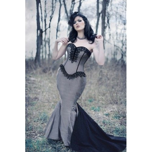 Steampunk Wedding Dress A Dark Dance Mermaid Corset Bridal Gown ...