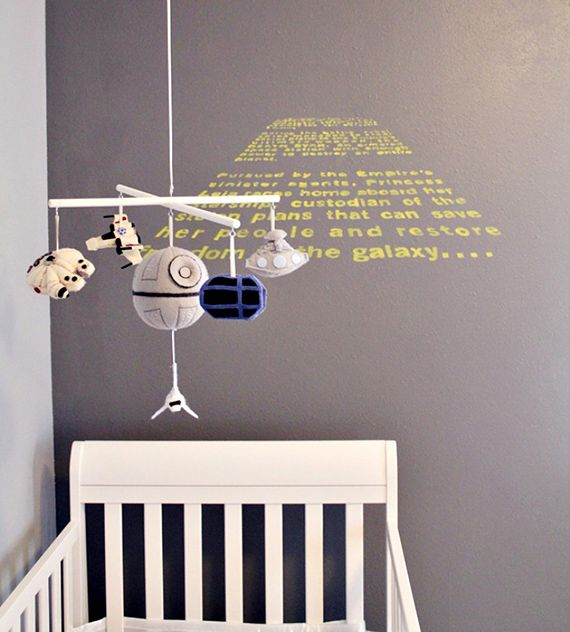 The most wonderful Star Wars crib mobile Geekdom, Geek out, Fun, Funstuff, Nerd, Nerdy