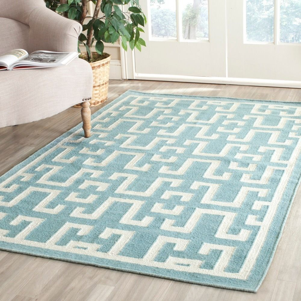 Safavieh Hand Woven Moroccan Reversible Dhurrie Seaform Blue Wool Rug 8 X 10