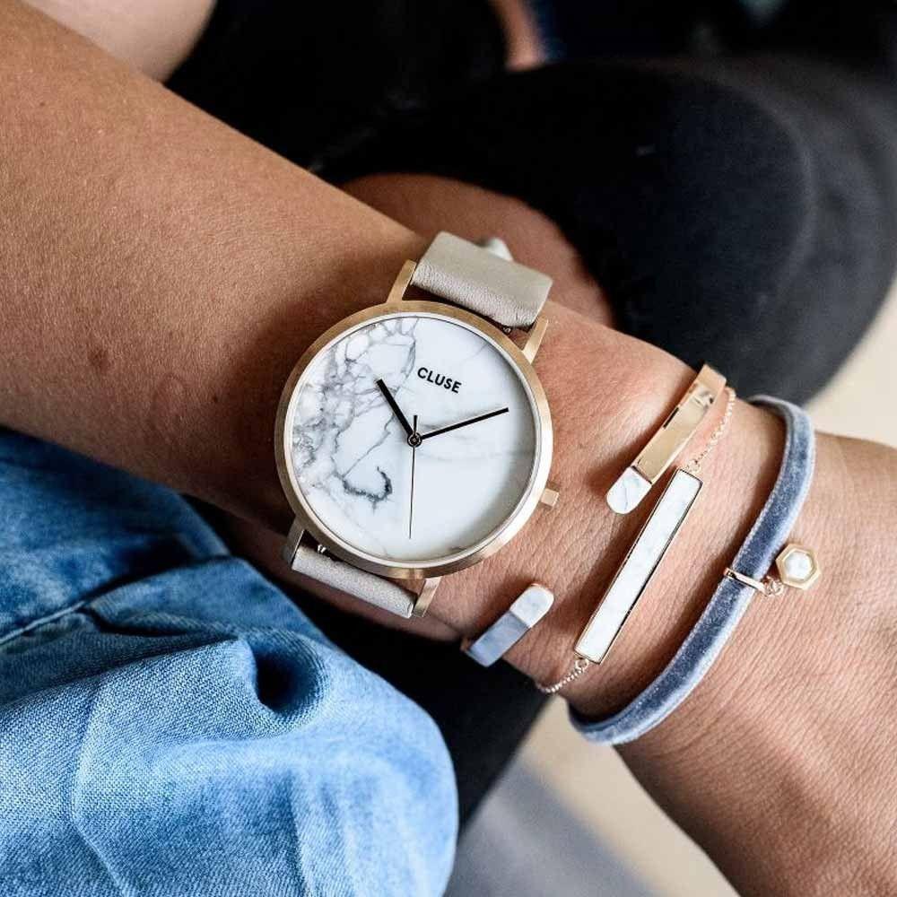 Die Marmor Einzigartige Echtem Ziffernblatt Von Uhr Mit Cluse Ziert 5ALq43cRSj