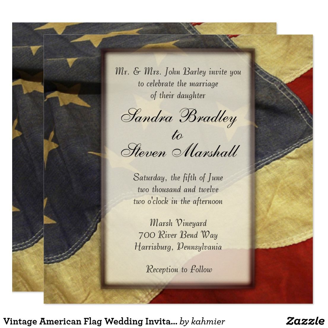Vintage American Flag Wedding Invitations | Military Theme Wedding ...