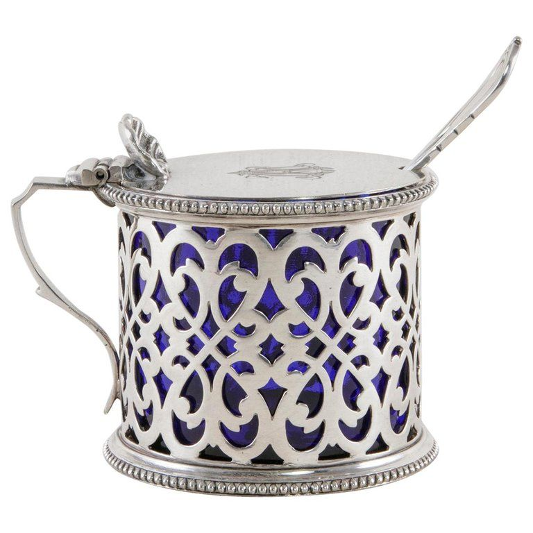 Late 19th Century English Silver Plate Mustard Pot with Lid Spoon, Glass Insert #gedecktertisch