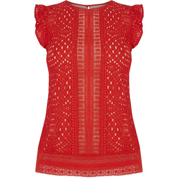 OASIS Frill Sleeve Geo Lace Top (1.675 UYU) via Polyvore featuring tops, red, red top, summer lace tops, lace top, geometric tops y red lace top