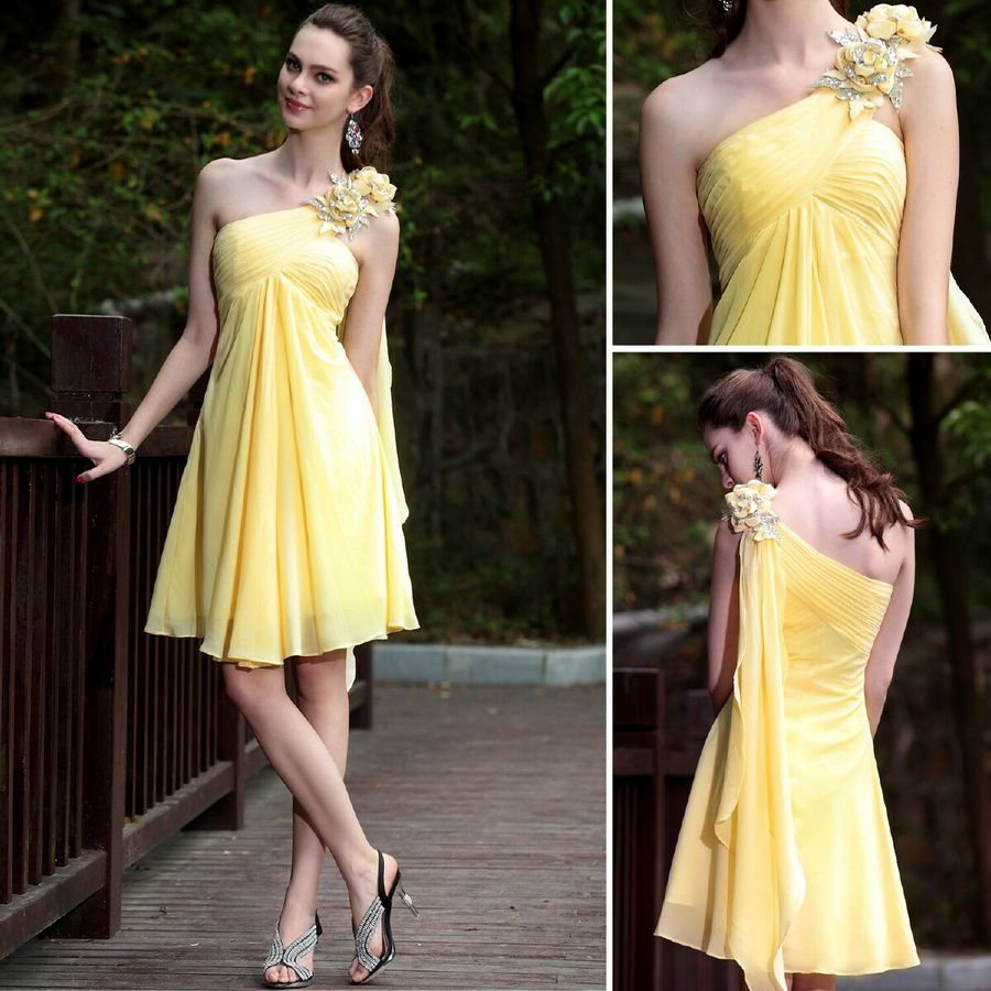 Yellow Knee-length One shoulder A-line Sleeveless Cocktail Attire Dress