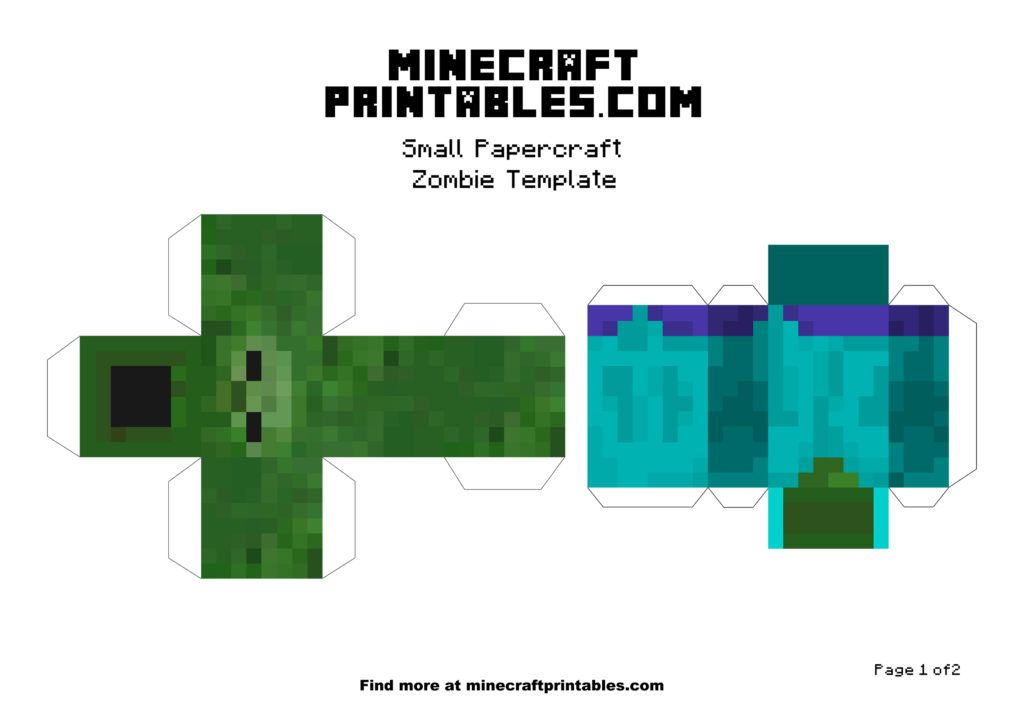 Minecraft Printable Papercraft Zombie Template