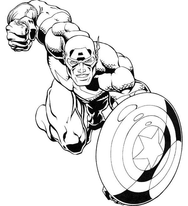 Captain America Marvel Superheroes Coloring Page | kids | Pinterest ...