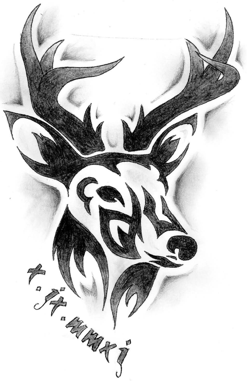 amazing tribal deer head tattoo design idea tattoos pinterest deer head tattoo head. Black Bedroom Furniture Sets. Home Design Ideas