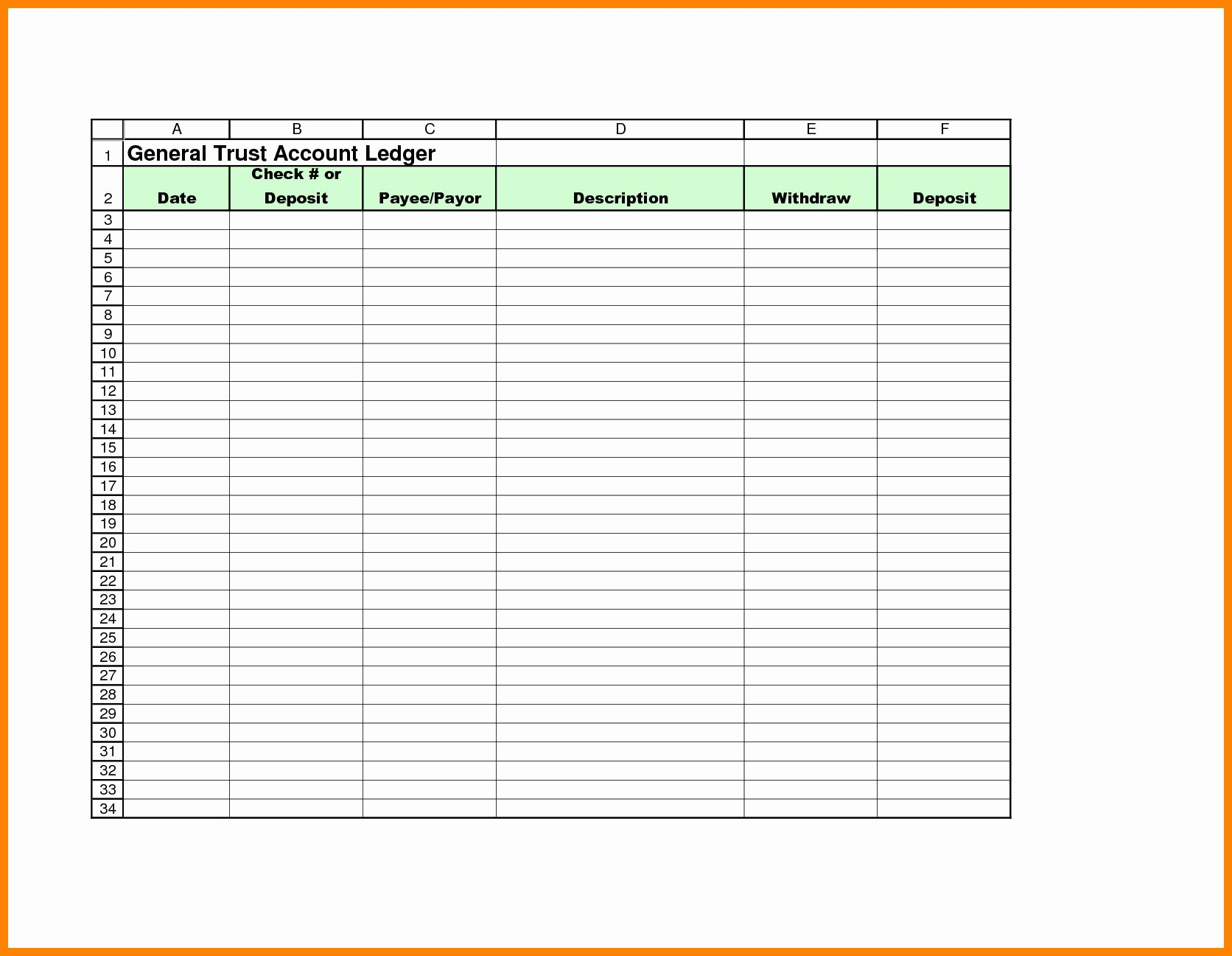 Best Of 5 Bank Account Ledger Template Weekly Schedule Template Excel Templates Receipt Template
