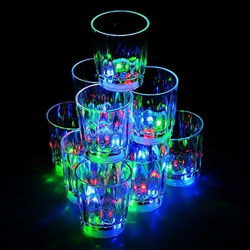 Homecube Package of 6 LED Multi Color Light up Party Acrylic Drinking Glasses for Bachelorette or Other Parties