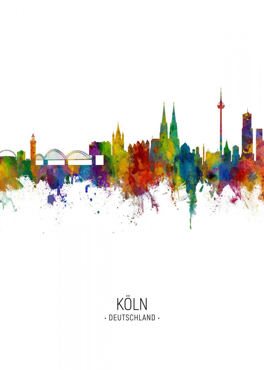 Cologne Germany Skyline Metal Poster Print Michael Tompsett Displate In 2020 Poster Prints Cityscape Art Posters Art Prints