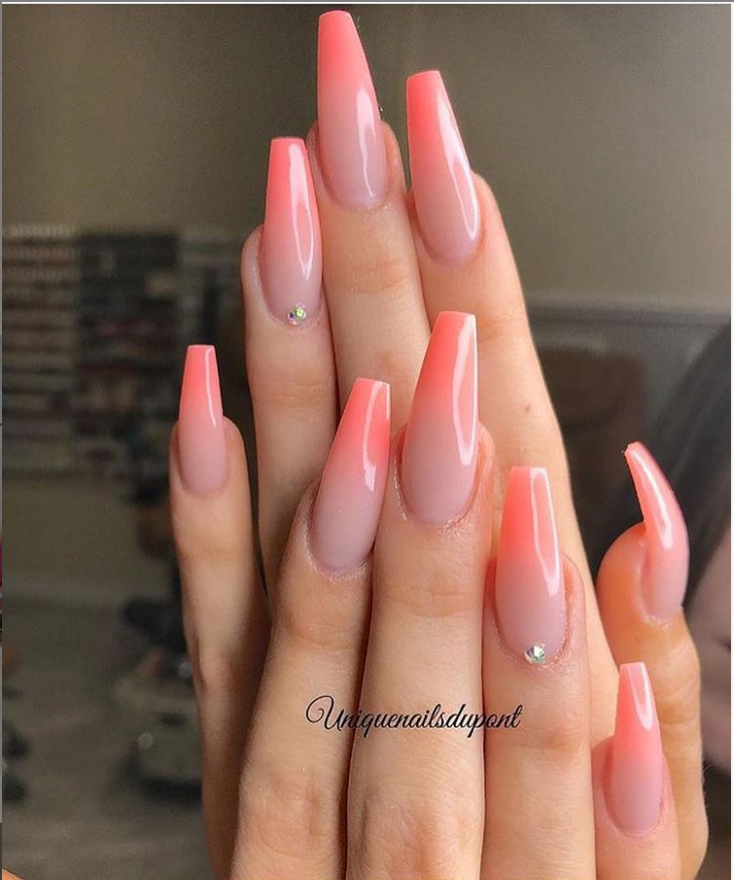 Ombre Peach Pink Classy Acrylic Coffin Nails Design Coffin Nails Long Ideas Sparkle Glitter Acryli Coffin Nails Long Summer Nails Colors Coffin Nails Designs