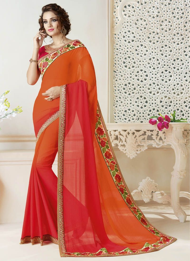 5665e86553a2d0 Orange Double Shaded Saree With Printed And Jari Border