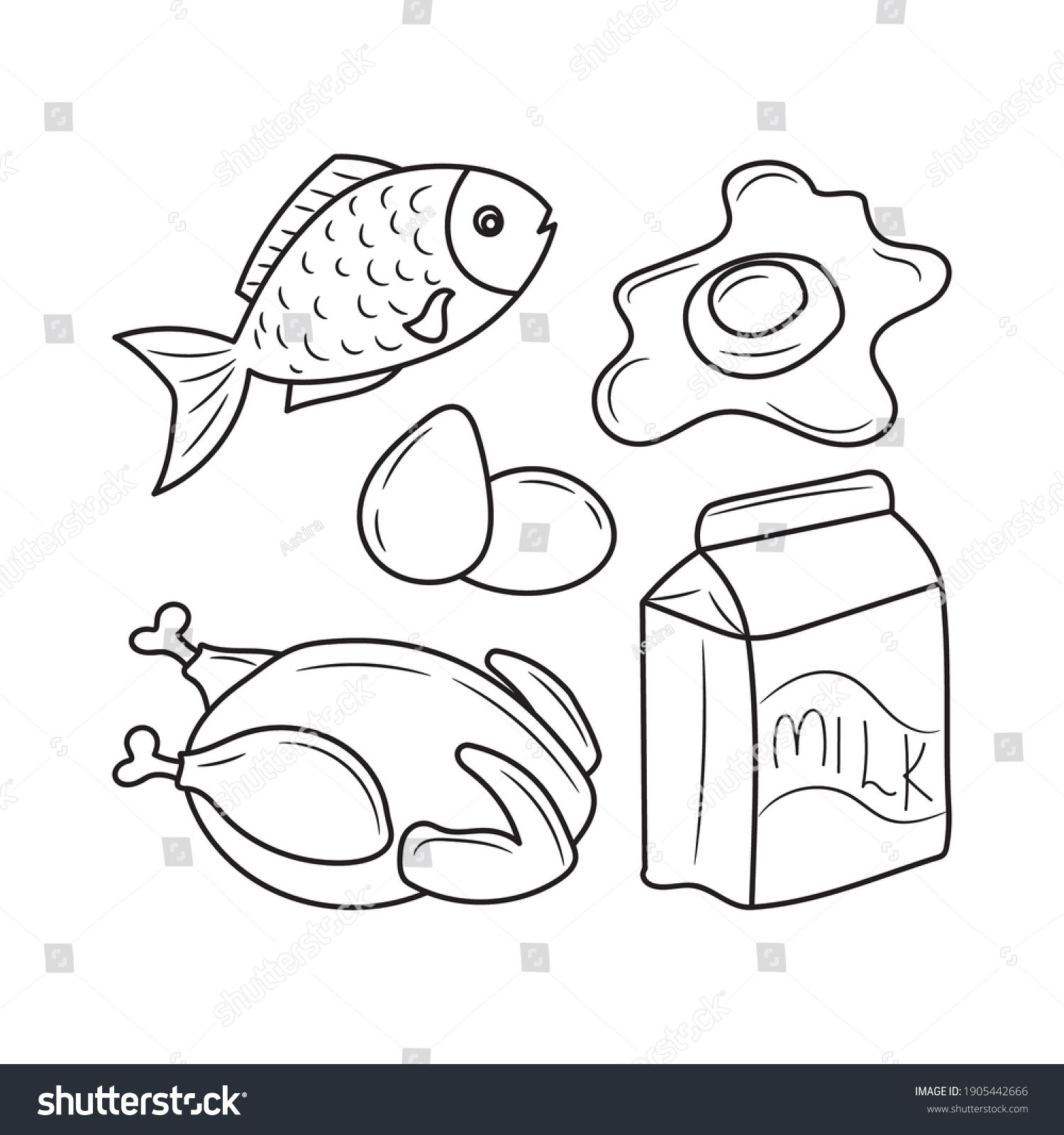 Protein Food Simple Black And White Line Art Vector Illustration In 2021 Line Art Vector Black And White Lines Black And White