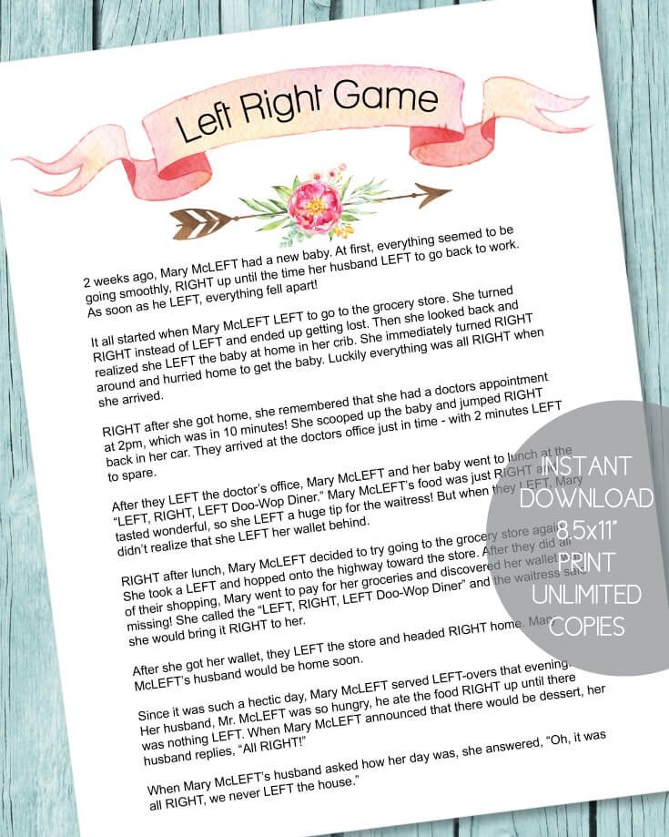 printable left right baby shower game