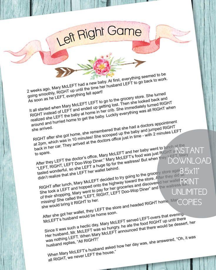 Printable Left Right Baby Shower Game   Boho Arrow Theme   Print It Baby