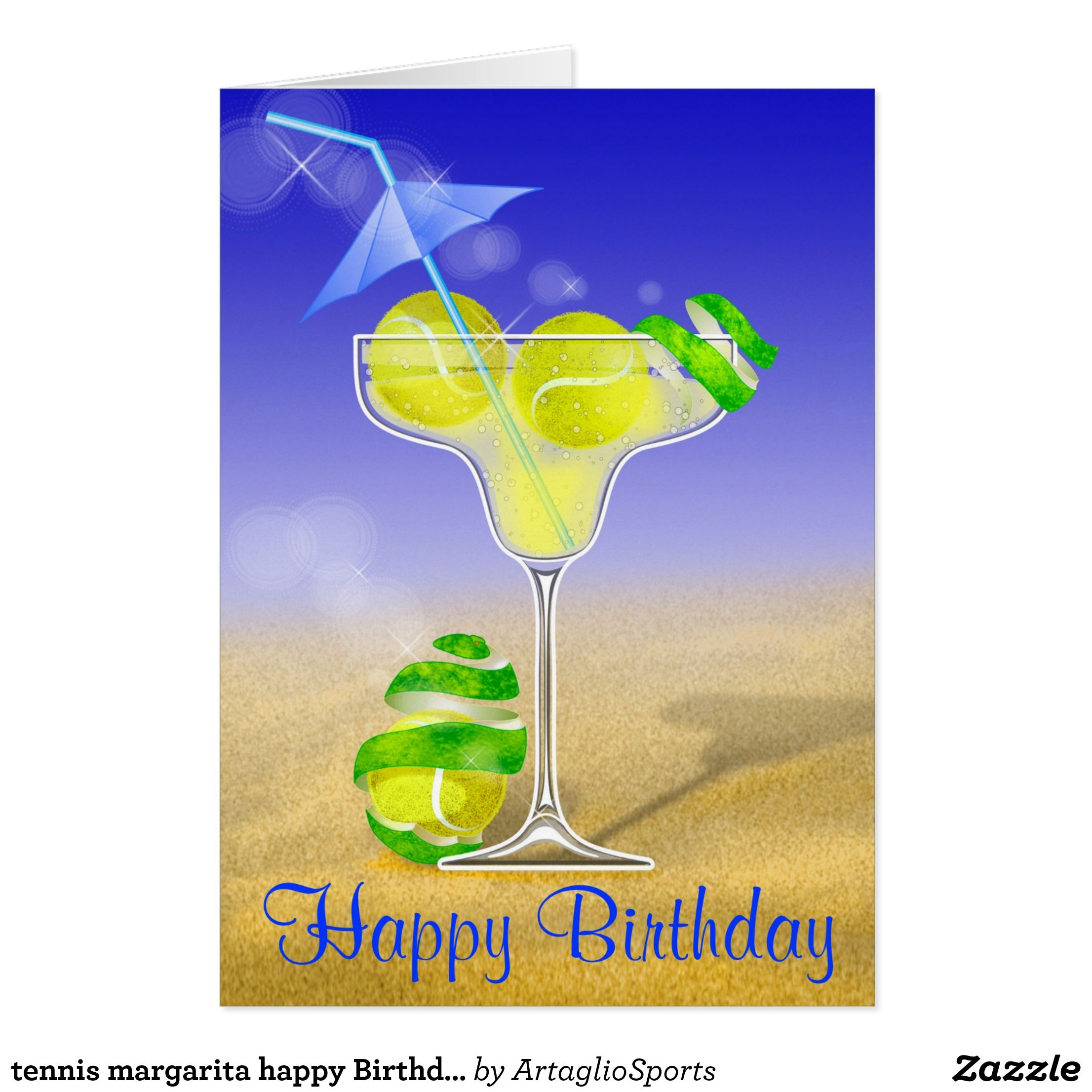 Tennis Margarita Happy Birthday Card Tennis Pinterest Tennis