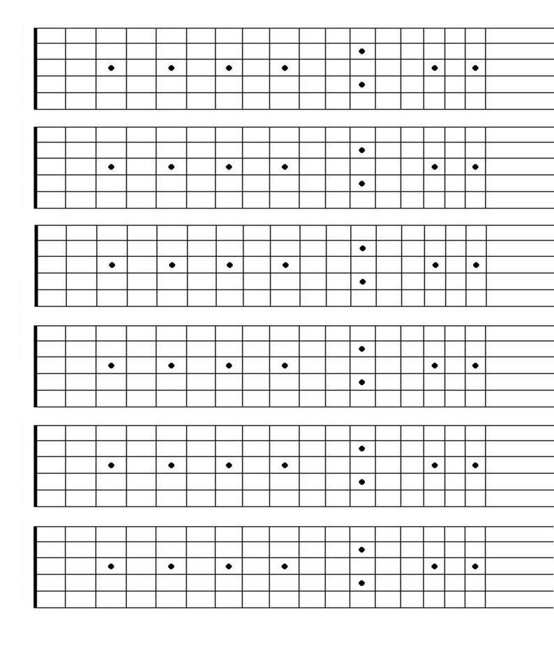 Printable Blank Guitar Fretboard Guitar Neck Chart Instant Etsy In 2021 Guitar Fretboard Guitar Neck Learn Guitar