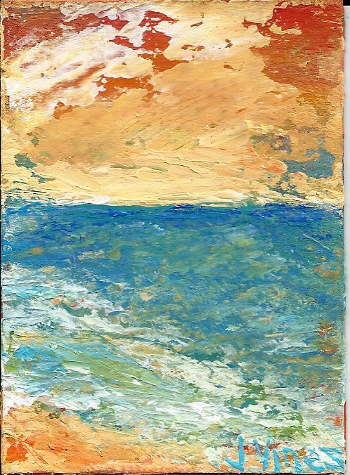 SALE Ocean Beach Abstract Seascape Original Knife Painting Acrylic ACEO ART NR #Impressionism