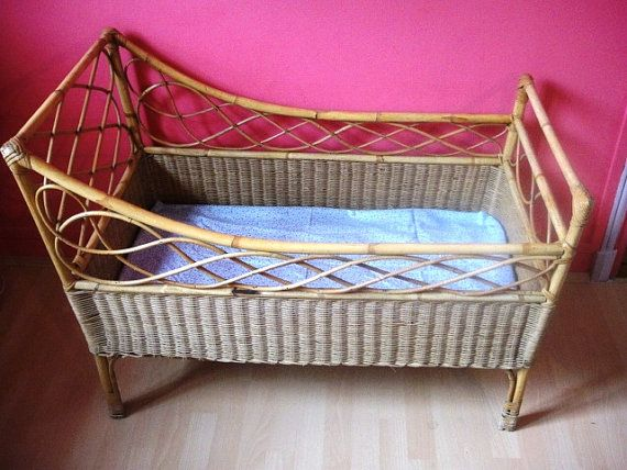 French Baby Bed Crib Wicker Vintage Bamboo Rattan 1960 Baby Bed Wicker French Baby