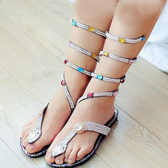 1e8ba8ff3724 Shoespie Sweet Colorful Rhinestone Flat Sandals