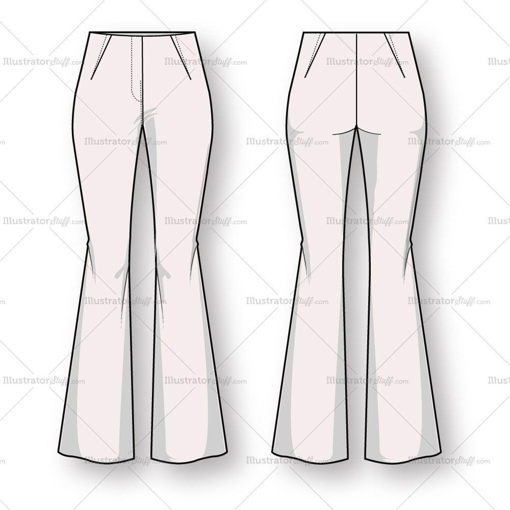women 39 s bootcut trouser pant fashion flat template fashion flats template and fashion sketches. Black Bedroom Furniture Sets. Home Design Ideas