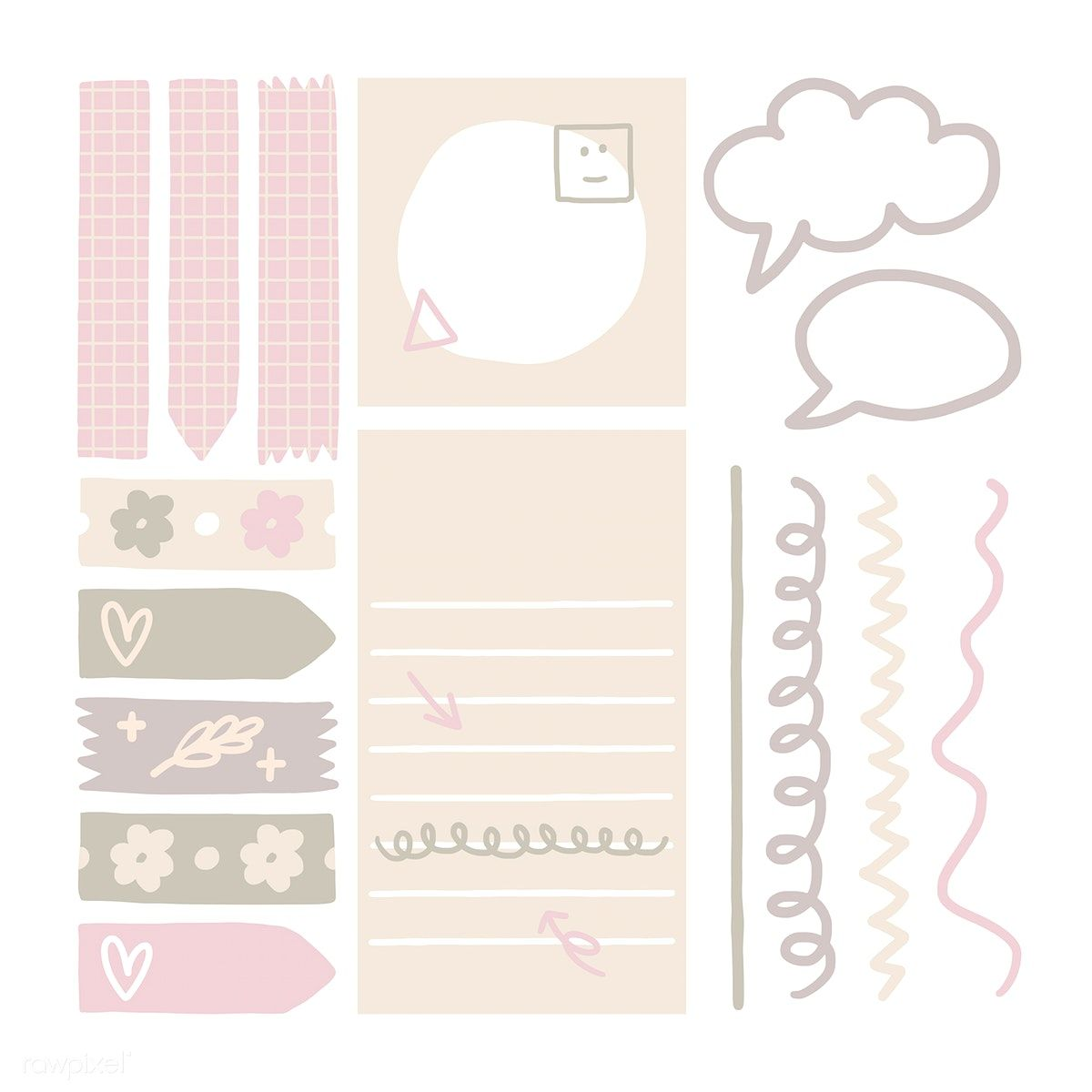 Sticky note doodle collection vectors free image by