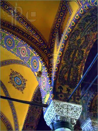 Ancient mosaics in Hagia Sophia's interiors. Istanbul, Turkey.