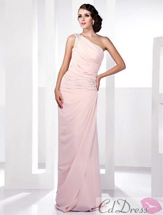 Elegant Sheath/Column One Shoulder Floor-length Side-Draped Chiffon Evening Dress