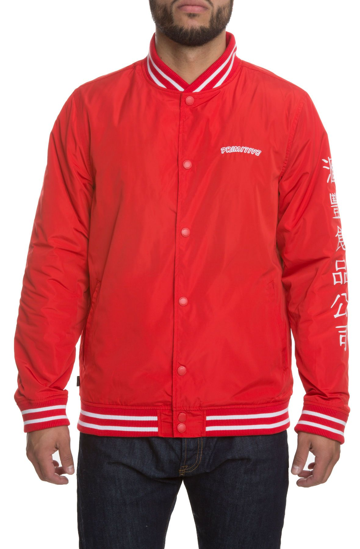1a87df10a Primitive The Primitive X Sriracha Huy Fong Sherpa Varsity Jacket In Red Red