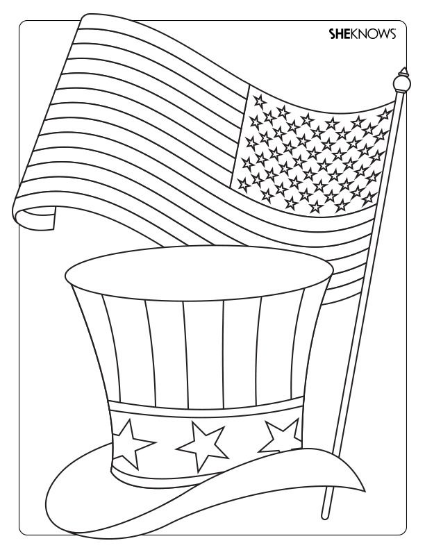 A Printable Coloring Page With Top Hat And The United States Flag