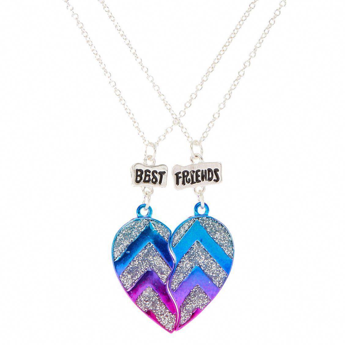 Best Friends Metallic Glitter Chevron Split Heart Pendant Necklaces This Pair Of Best Friend Necklaces Friend Necklaces Best Friend Necklaces Friend Jewelry