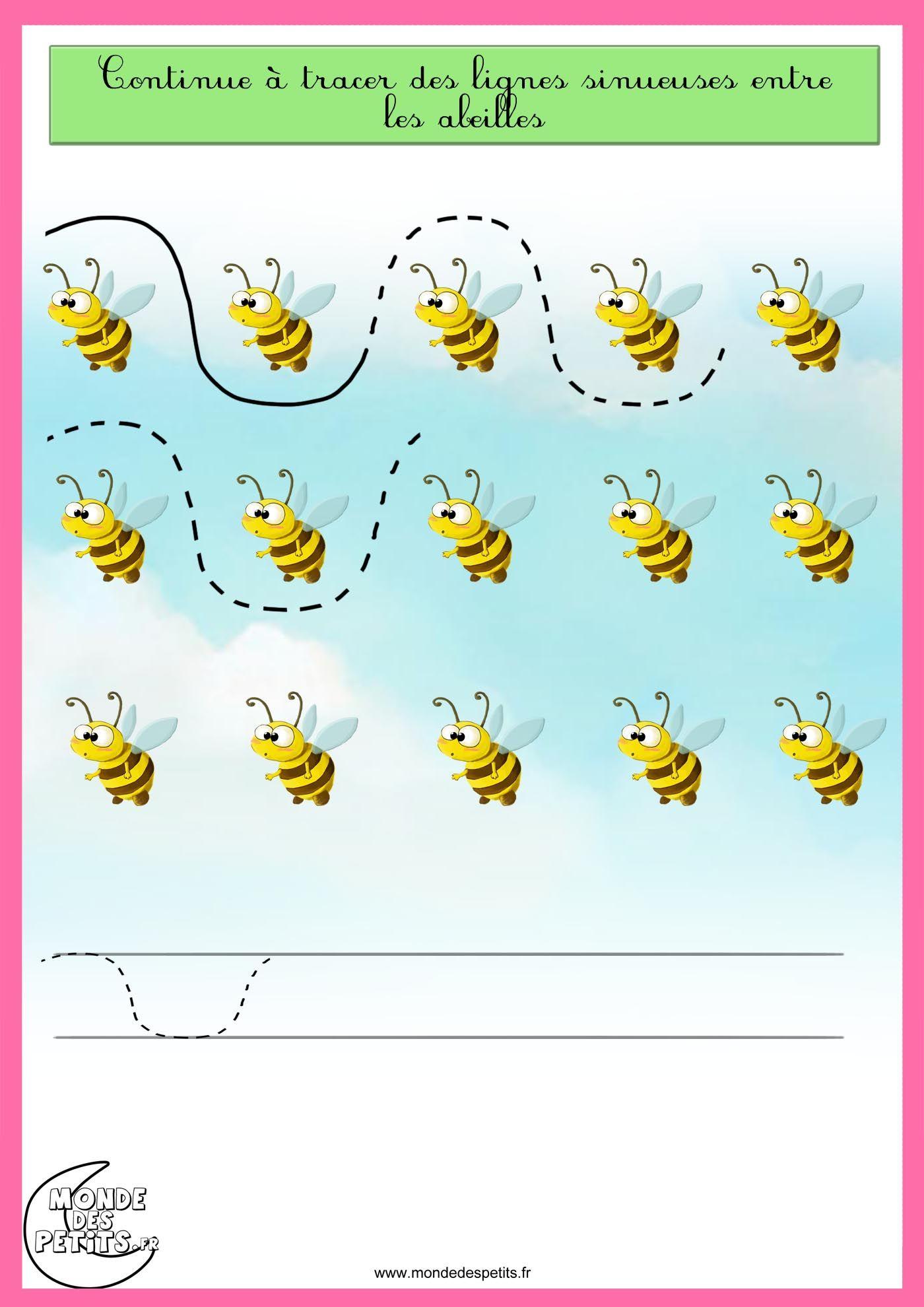 Schrijfpatroon Bijen Free Printable