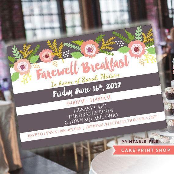 farewell invitation farewell breakfast thank you lunch