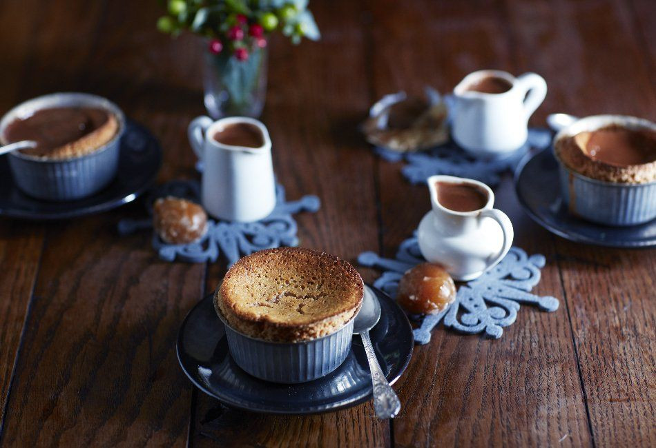 Chestnut soufflé with chocolate and Armagnac sauce from Nourish by Jane Clarke