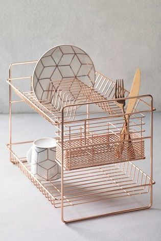 2 Tier Dish Drainer With Images Rose Gold Kitchen