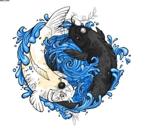 Yin yang koi fishes tattoo design koi fish yin yang tattoo koi fish yin and yang symbol i like the water idea but i want fire around that like a sun border ring of fire publicscrutiny Image collections