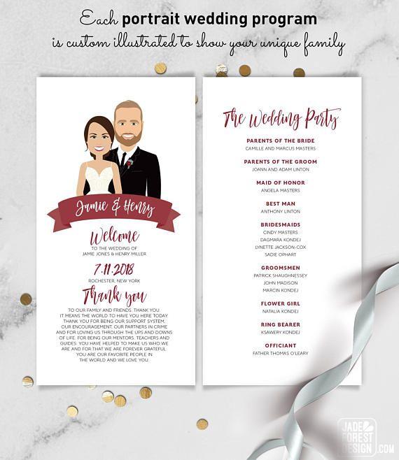 Portrait Wedding Program Schedule Burgundy Maroon Red Welcome Ilration Cartoon