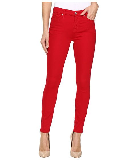 7 For All Mankind The Ankle Skinny W Contour Waist Band In Fruit