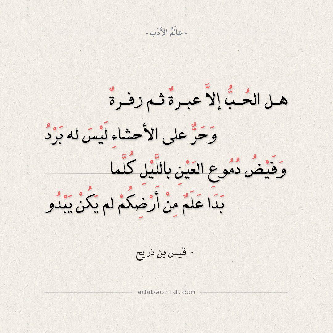 شعر قيس بن ذريح هل الحب إلا عبرة ثم زفرة عالم الأدب Arabic Calligraphy Math