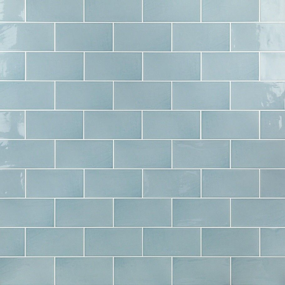 Aruba Blue 5x10 Ceramic Wall Tile With