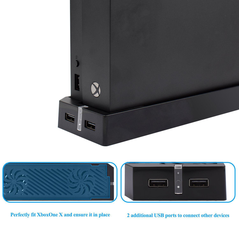 Meneea Xbox One X Cooling Fan 2 Fans 2 Usb Ports Xbox One X