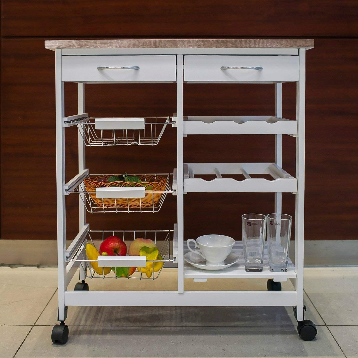 Kitchen Storage Cart Island Rolling On Wheels With Wine Rack Shelves Drawers And Baskets Wood Top W Kitchen Storage Cart Kitchen Cart Kitchen Island Storage