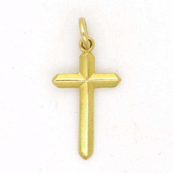 Yellow 14k gold cross golden crucifix pendant christian faith yellow 14k gold cross golden crucifix pendant christian faith symbol minimalist design religious aloadofball Images