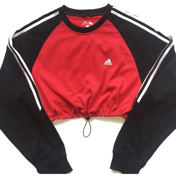33a1a2418a3 Reworked Adidas Stripe Block Crop Sweatshirt ($48) ❤ liked on Polyvore  featuring tops, hoodies, sweatshirts, color block tops, red stripe top,  cropped tops ...