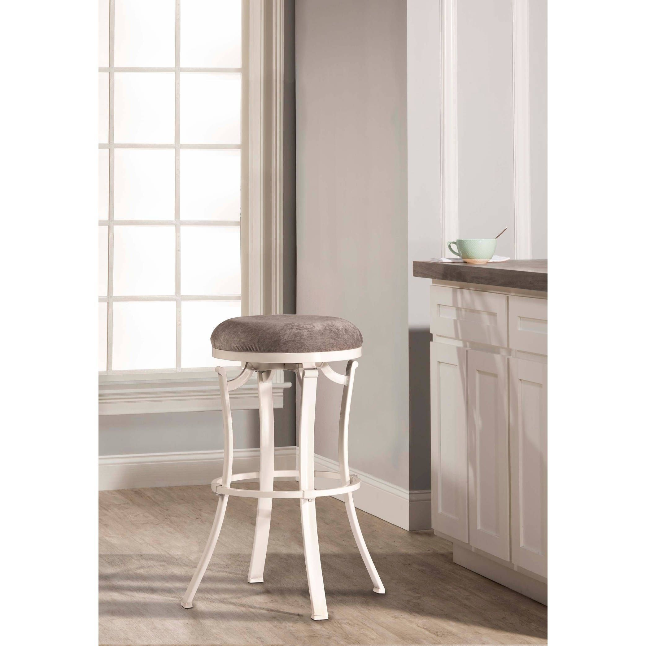 Hillsdale Furniture Kelford Swivel Backless Counter Stool White