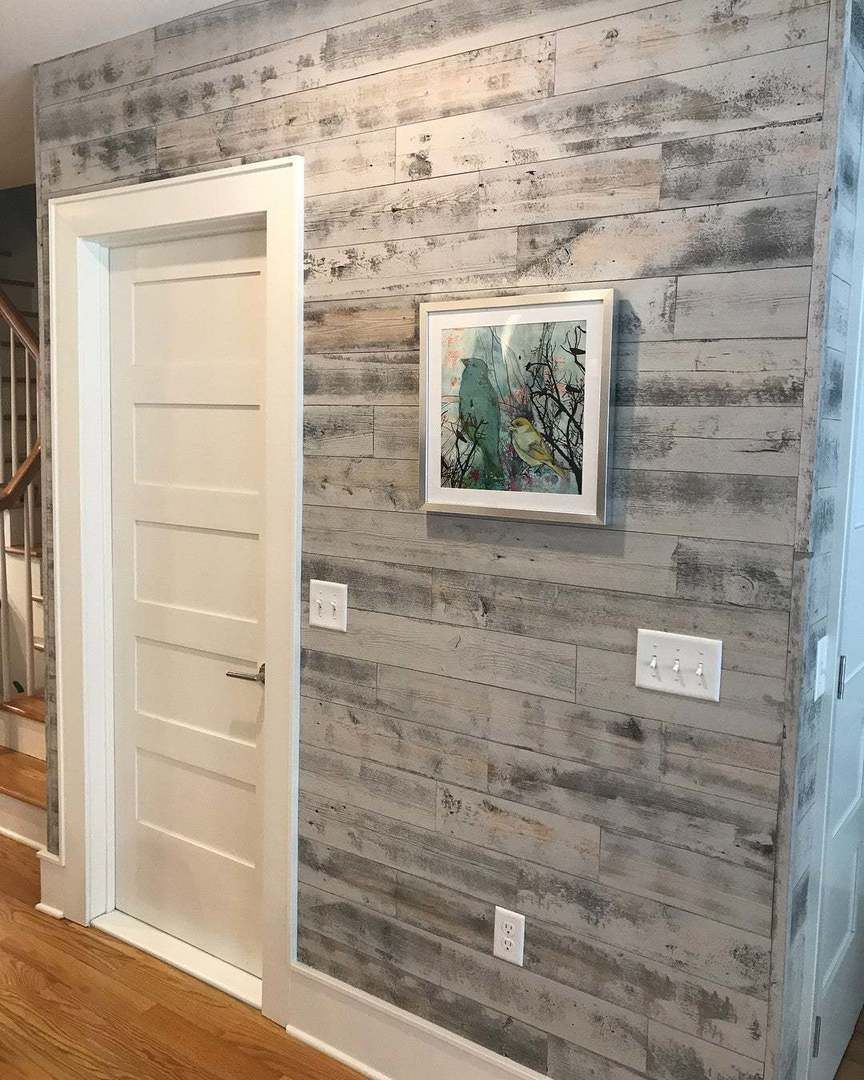 Reclaimed Weathered Wood Gray In 2021 Diy Reclaimed Wood Wall Stick On Wood Wall Peel And Stick Shiplap