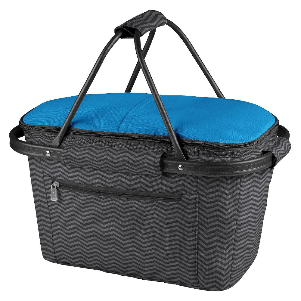 Picnic Time Market Basket Collapsible Tote - Waves Collection, Blue/Dark Ash