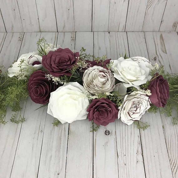 Flower Garland shown in burgundy and white paper flowers  Table Runner or Arch  ...   - Wedding Paper Flowers - #Arch #Burgundy #FLOWER #Flowers #GARLAND #Paper #Runner #shown #Table #Wedding #White #paperflowergarlands