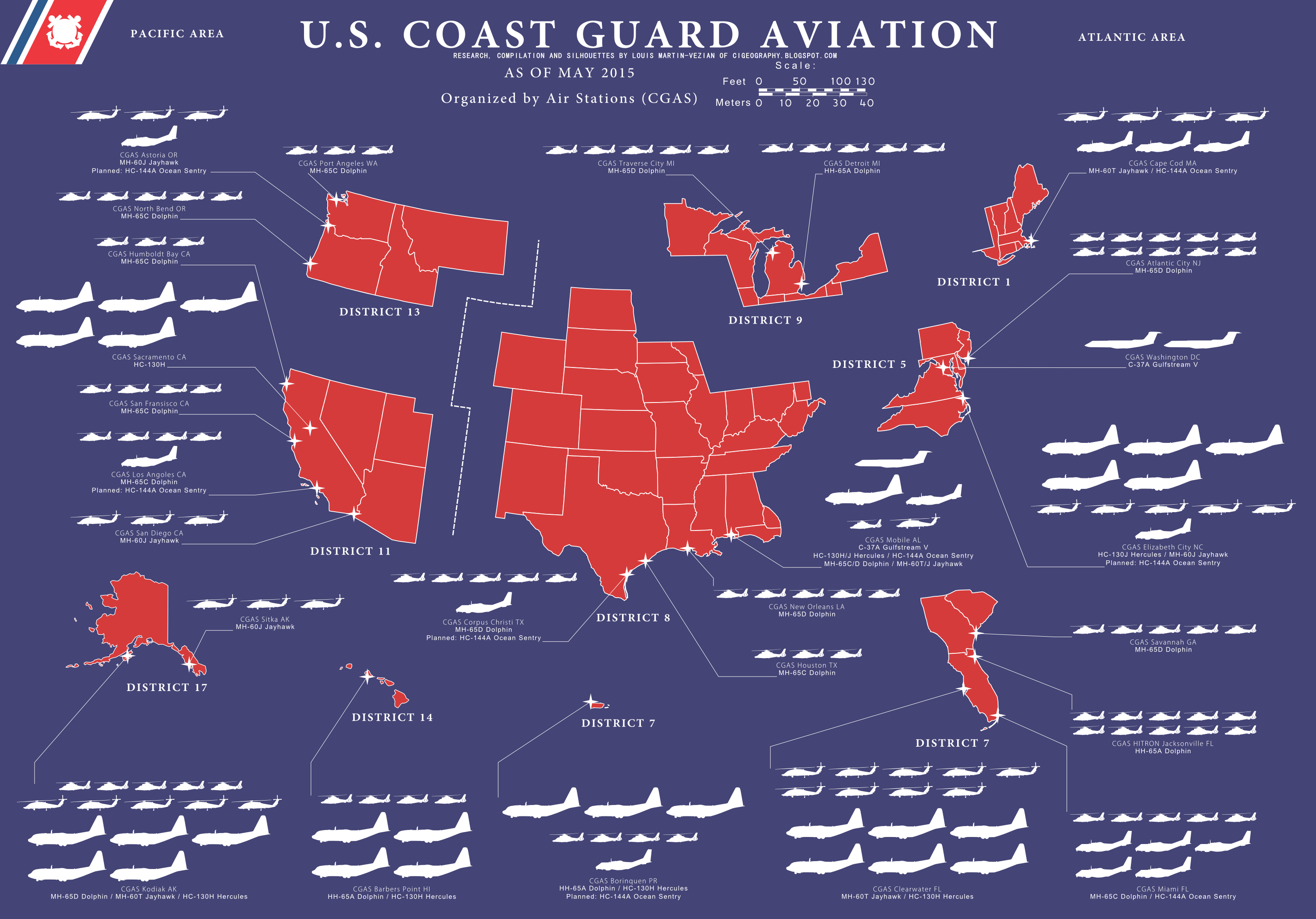 US Coast Guard Districts And Air Stations By Tabascohabanero - Us coast guard stations map