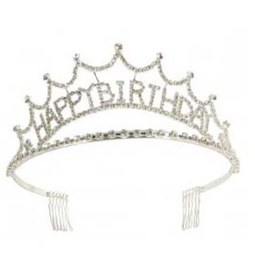 Happy Birthday Rhinestone Tiara Adult Princess Crown